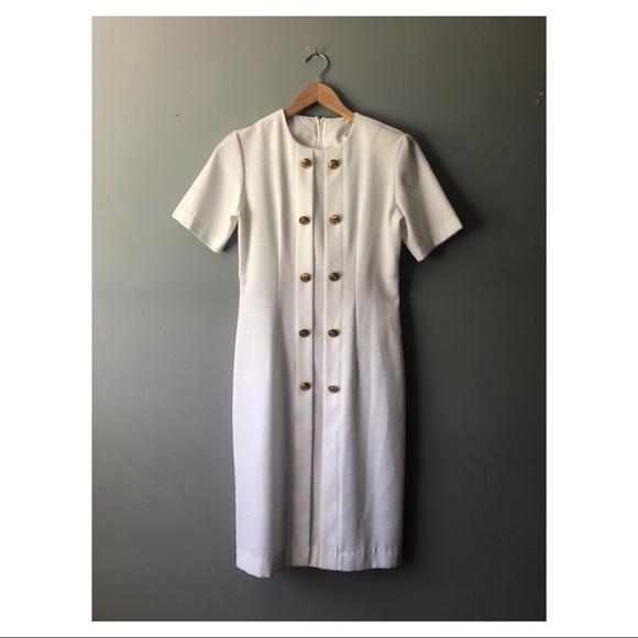 Dresses & Skirts - White Vintage Textured Sailor Dress w Gold Buttons